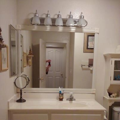 Easy Way To Frame A Bathroom Mirror For Under $20